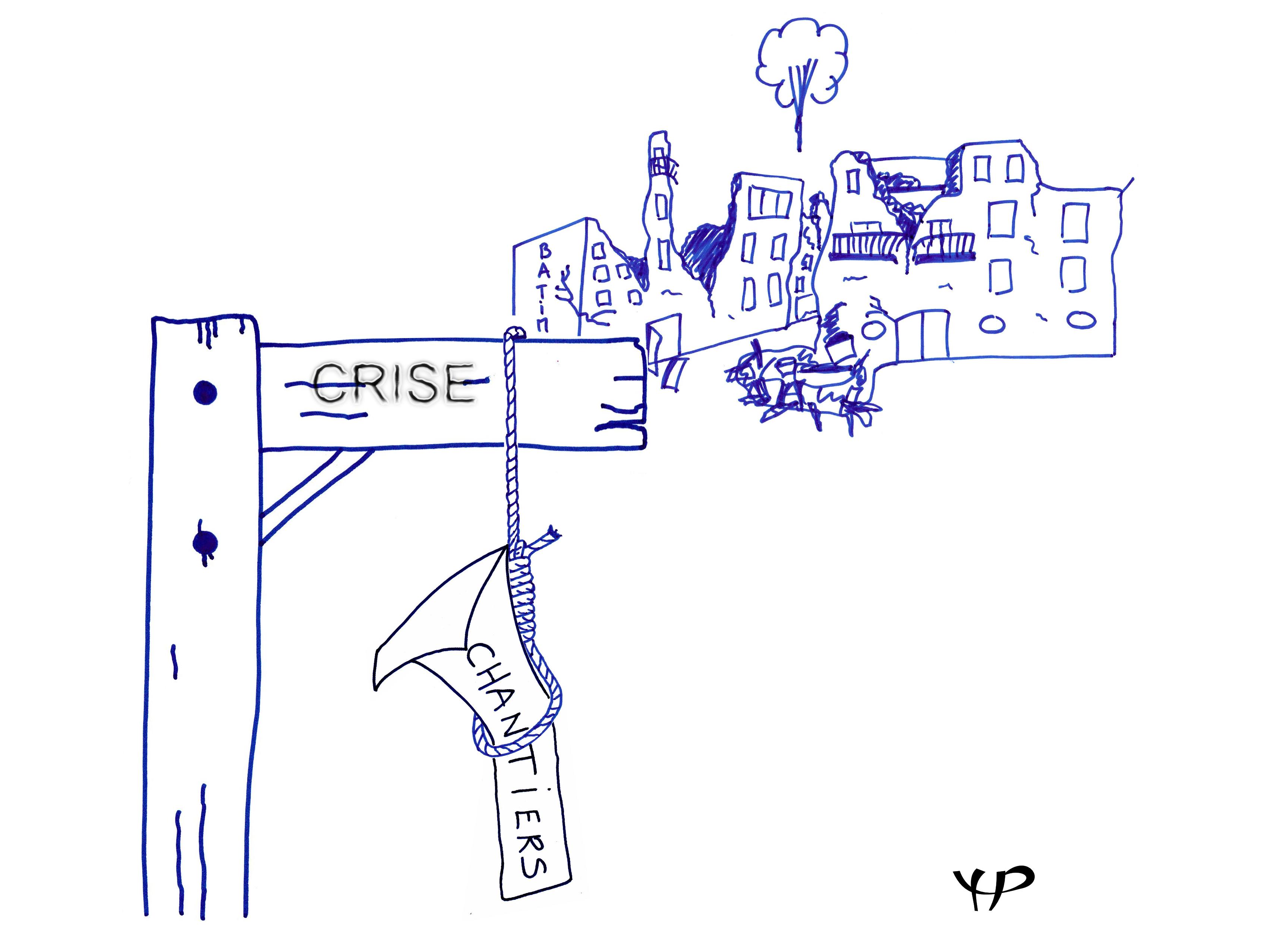 caricature crise pas de chantiers dans le batiment
